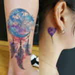 Watercolor Tattoos on Leg and Behind Ear