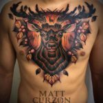 Wooden Stag Tattoo on Chest