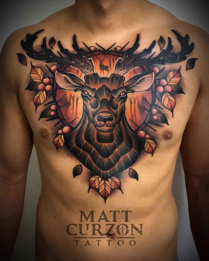 chest tattoo stag big