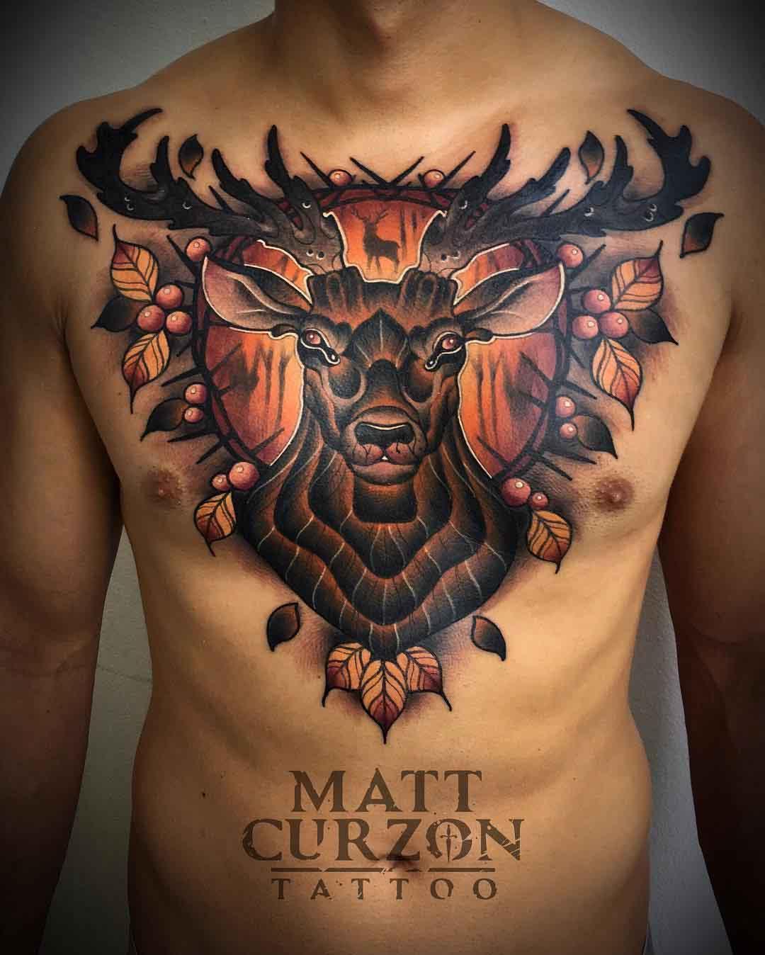 chest tattoo stag big