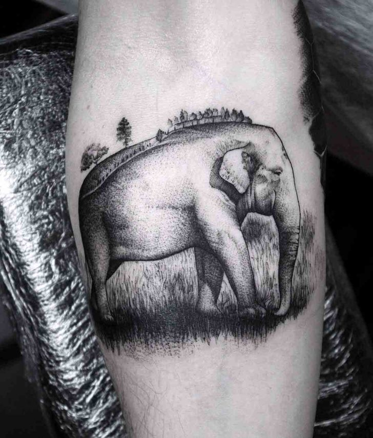 cool elephant tattoo design black and grey