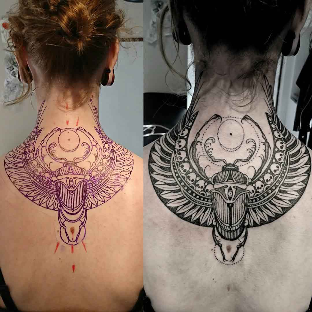 scarab egyptian tattoo with wings on back neck
