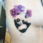 Balloons Panda Tattoo on Ribs