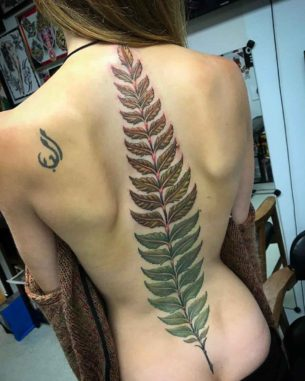 Big Fern Tattoo on Spine