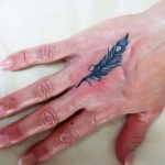 Blue Feather Tattoo on Hand