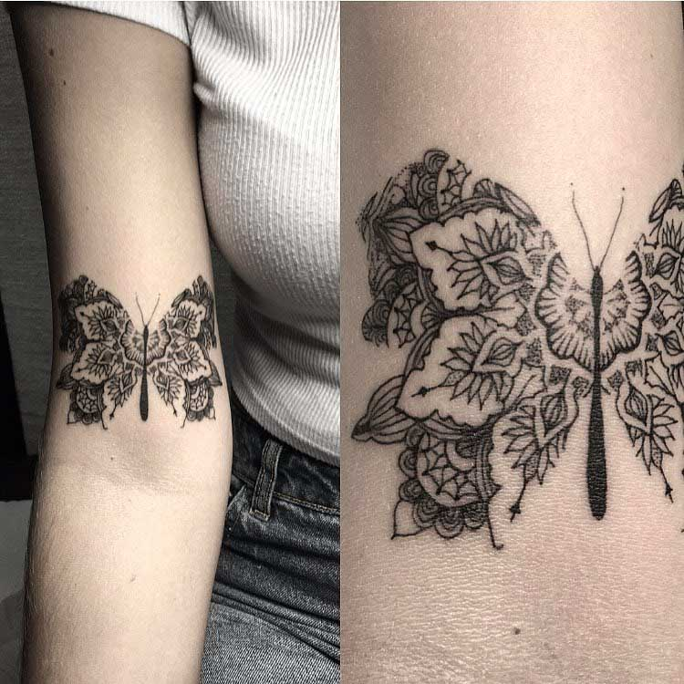mandala tattoo butterfly