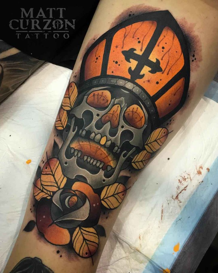 Holy skull tattoo neo-traditional style