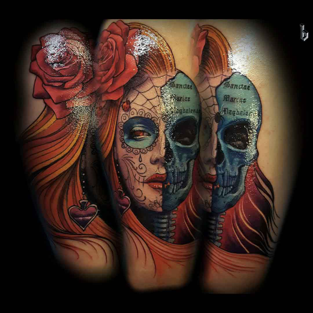 Half-Skull Santa Muerte tattoo