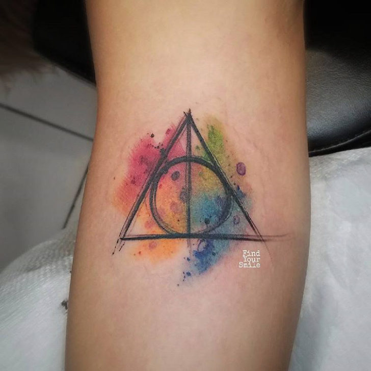 watercolor tattoo deathly hollows harry potter themed design