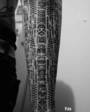 Ethnic Symbols Tattoo Sleeve