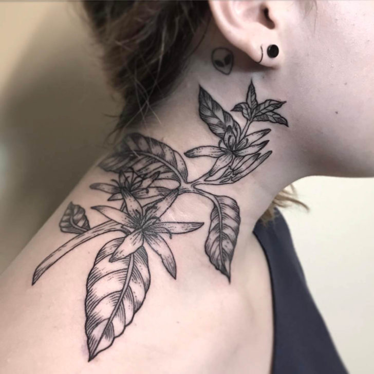 neck tattoo floral