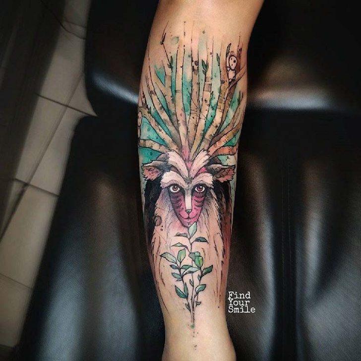 arm tattoo forest spirit
