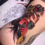 neo-traditional girl ribs tattoo big