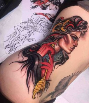 Girl With Arrow Tattoo on Ribs