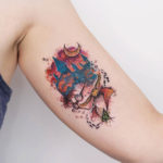 bicep tattoo harry potter watercolor style