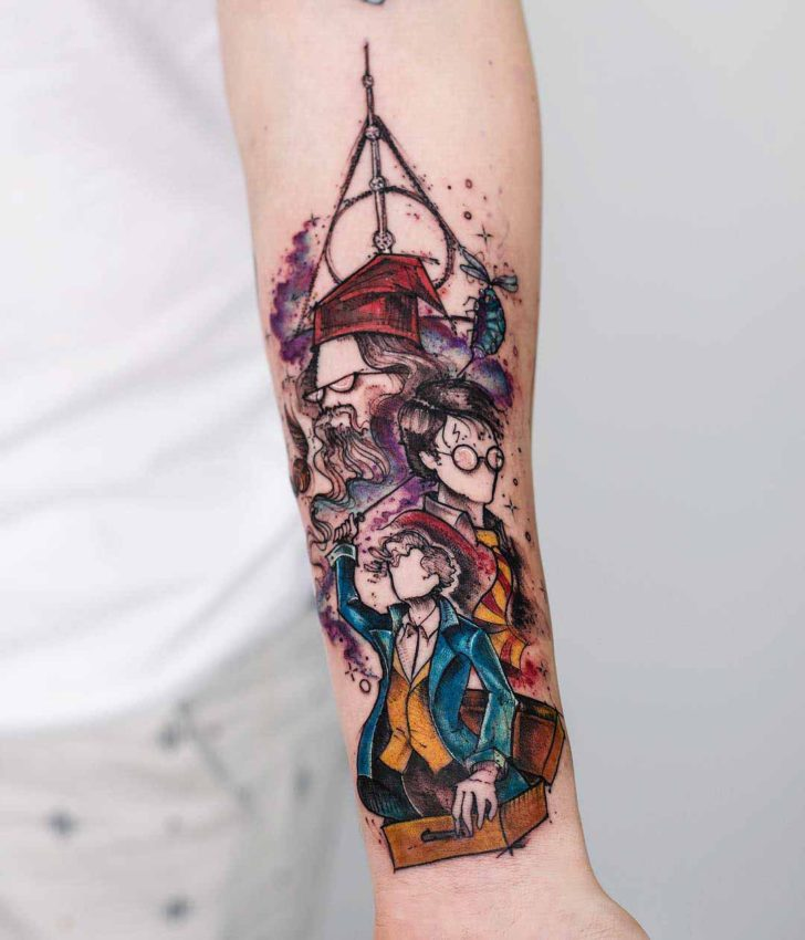 watercolor arm tattoo harry potter