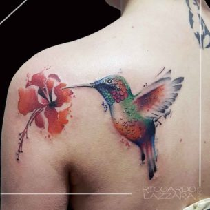 Hummingbird With Flower Tattoo