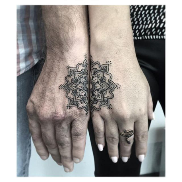 mandala tattoo for couple