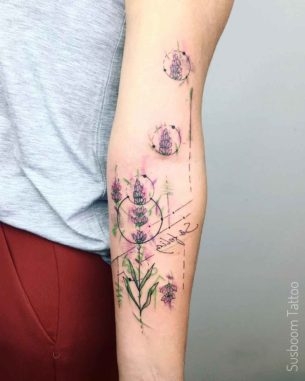 Minimal Lavender Flower Tattoo