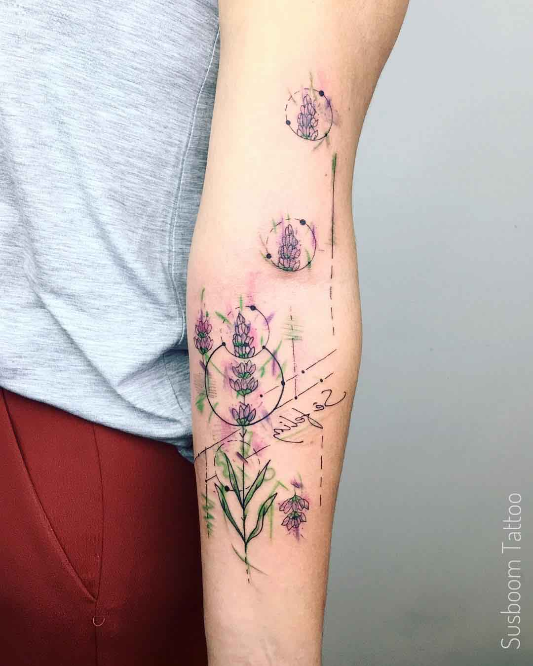 lavender tattoo flower on arm