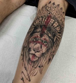 Native Lion Tattoo