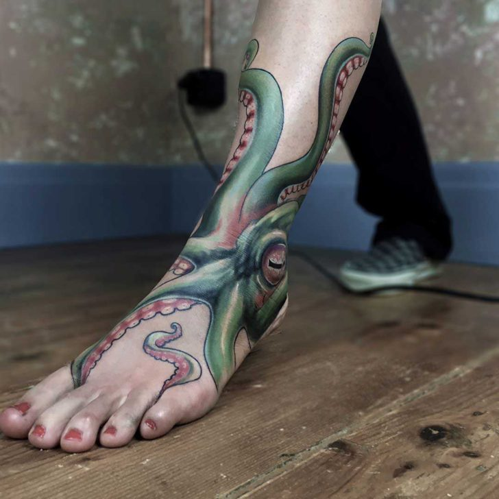 ankle tattoo octopus realistic