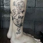 Rose Heartlock Tattoo on Leg