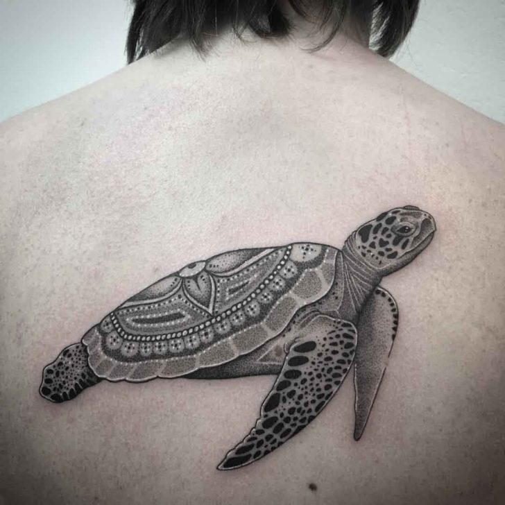sea turtle tattoo on back