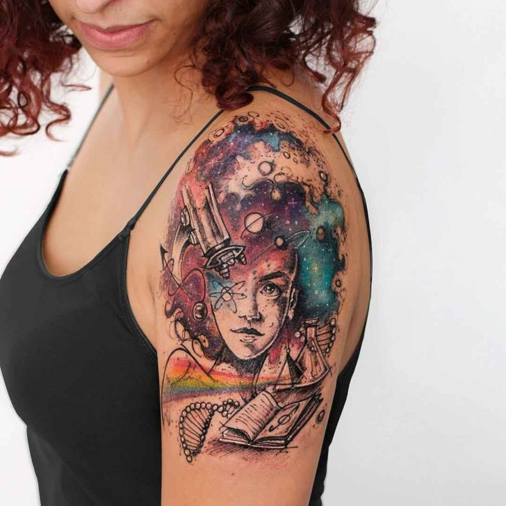 watercolor tattoo on shoulder research