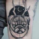 bull dog with antlers tattoo