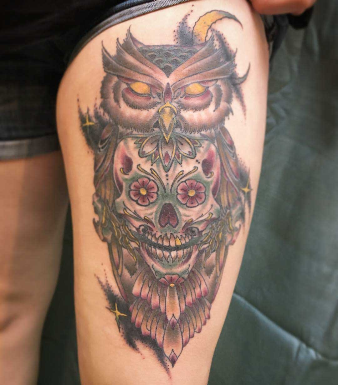 owl tattoo sugar skull on thigh