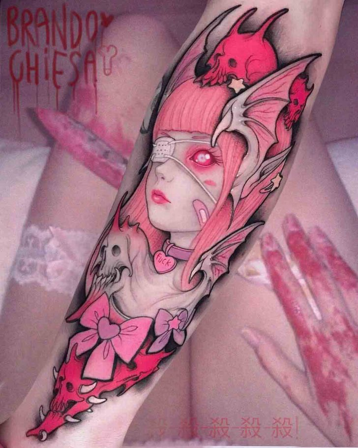 pink tattoo on arm super sonico design