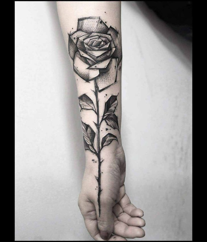 arm tattoo rose or hand