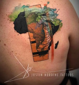 Africa Tattoo on Shoulder Blade
