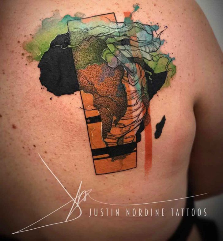 shoulder blade africa tattoo