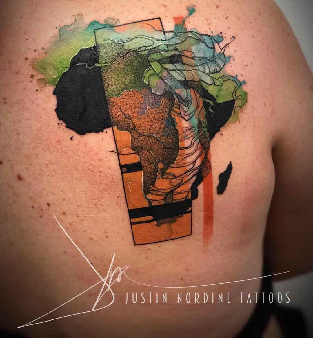 shoulder blade africa tattoo