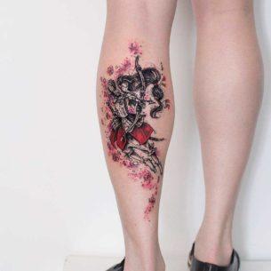 Asian Archer Tattoo on Calf