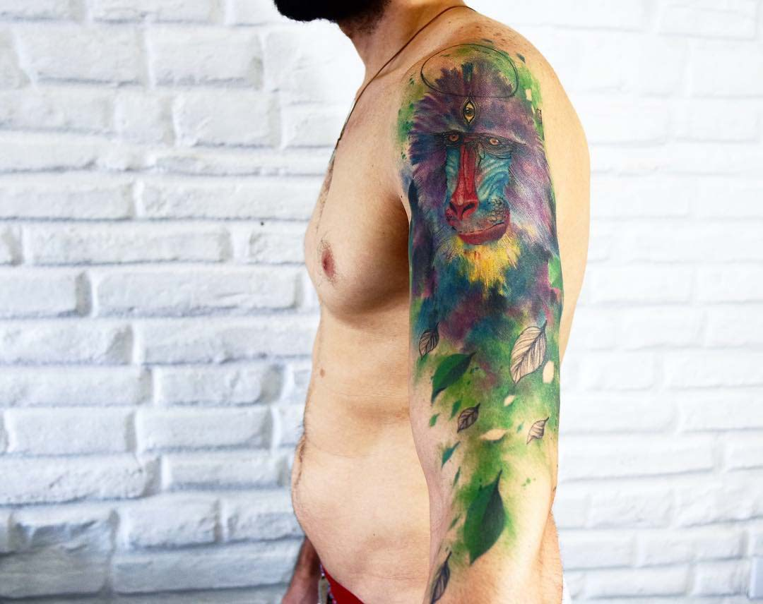 watercolor shoulder tattoo baboon