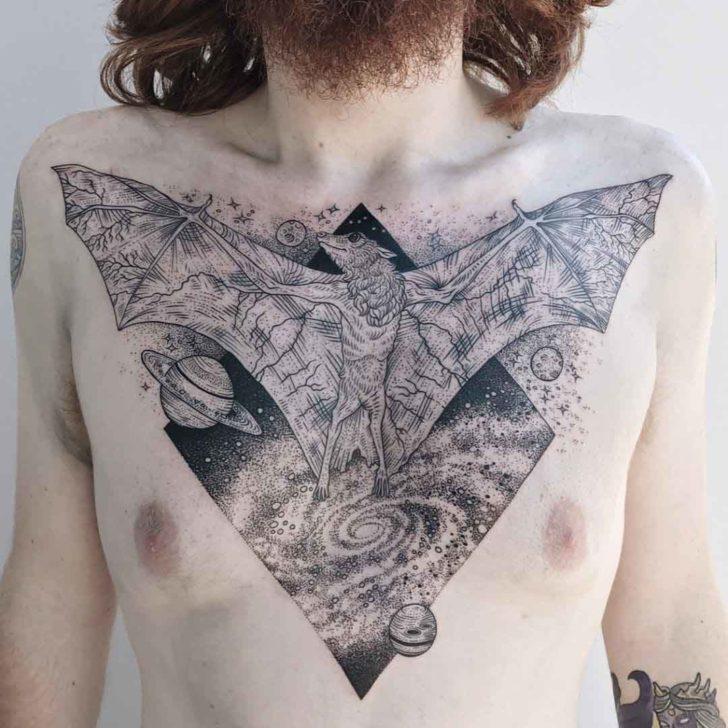 chest tattoo bat triangle