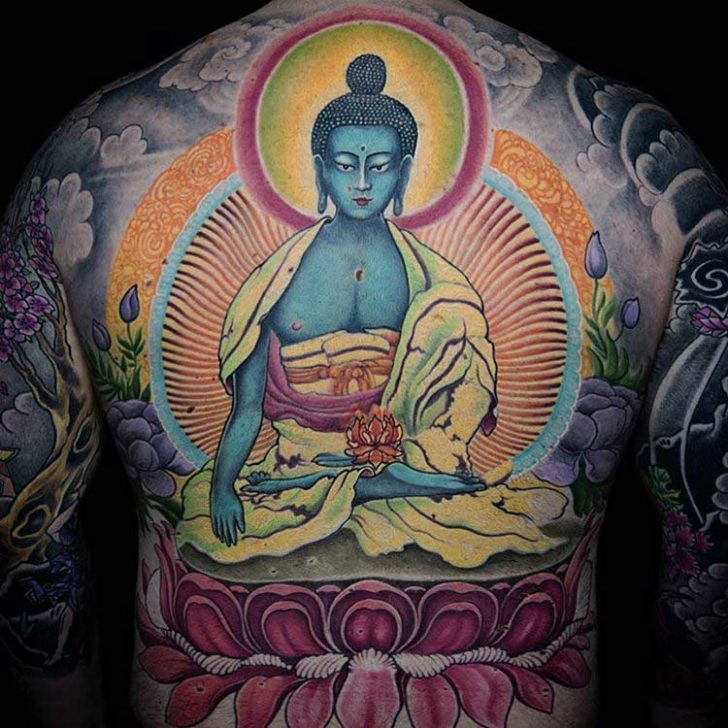 blue buddha tattoo on back