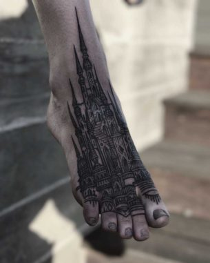 Castle Tattoo on Foot