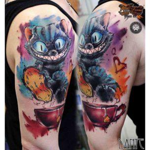 Crazy Cheshire Cat Tattoo