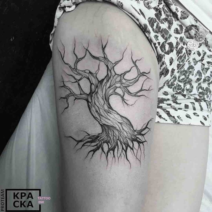 shoulder tattoo dead tree