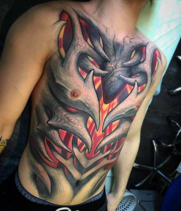 full torso tattoo deomonic ribs