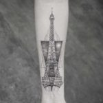 Dotwork Eiffel Tower Tattoo