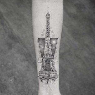 Dotwork Eiffel Tower Tattoo