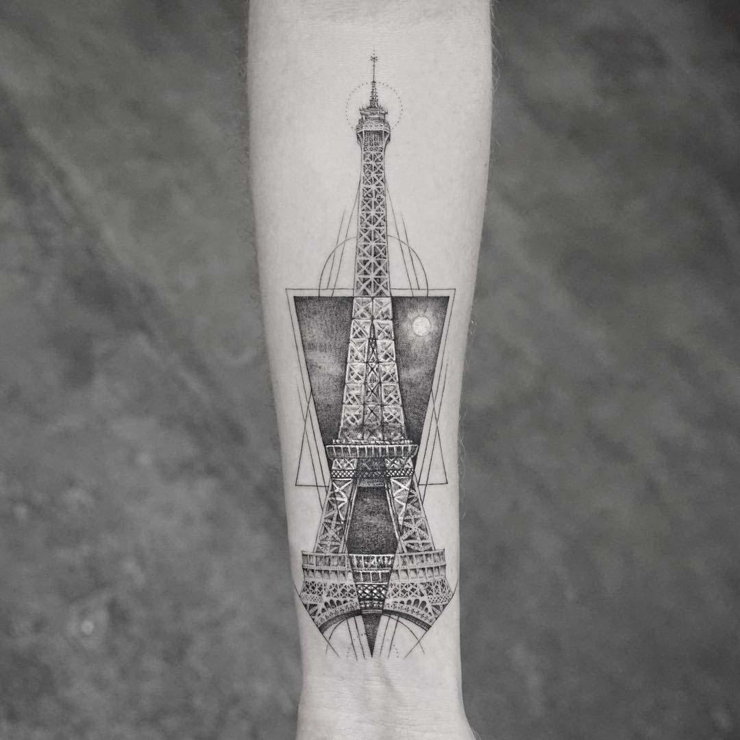 arm tattoo eiffel tower