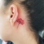 Poppy Flower Tattoo Behind Ear