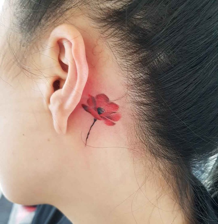 Tattoo Designs Behind Ear: Poppy Flower Tattoo Behind Ear