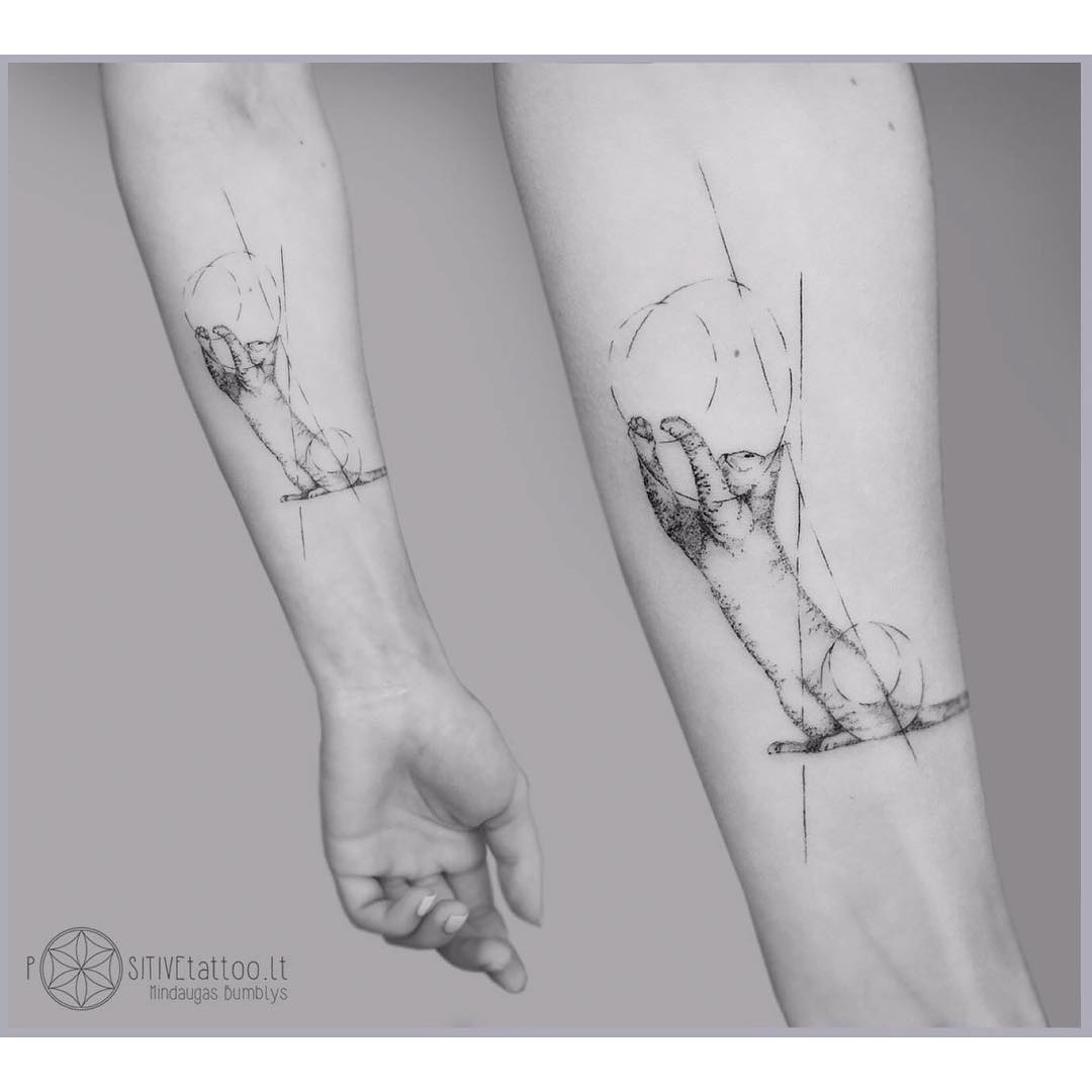 arm tattoo geometric cat